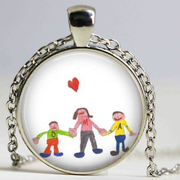 Wholesale Glass Artworks - Cute Kid's Artwork Necklace, Personalized Keepsake Necklace, Children Drawing Jewelry glass dome art pendant