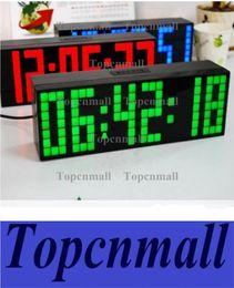 Wholesale Large Display Led Clock - NEW LED Clock Display Jumbo Large Digital Wall Alarm Countdown World Clock Blue LED Blue Clocks Timer