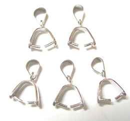 Wholesale Pinch Clip Bail - 10pcs lot 925 Sterling Silver Pinch Clip Bail For DIY Craft Jewelry Gfit Free shipping W19*