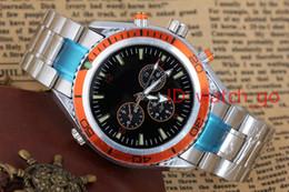 Wholesale Watch Orange Bezel - Hot selling Luxury New Dive Automatic Mechanical Mens Sports Stainless steel Bracelet Orange Bezel Black Rubber Watches James Bond 007 Style