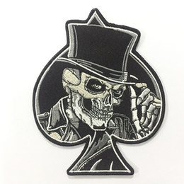 Wholesale Wholesale Jacket Free Shipping - Quality Spades Top Hat Skull Embroidered Iron On Patch Motorcycle Biker Club MC Front Jacket Vest Patch Detailed Embroidery Free Shipping