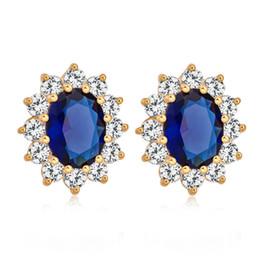 Top vente fleur Stud avec Blue / Red Zirconia Stone boucle d'oreille mariée bijoux de mariage pour les filles pour les femmes ? partir de fabricateur