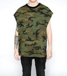 Wholesale Army New Camo Shirt - New streetwear hip hop rock t shirts swag harajuku skate summer tops vest fitness gym-clothing army camouflage tee shirt camo