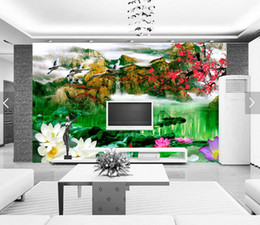 Wholesale Customized Wedding Paintings - wall background wallpaper diamond Customized living room Water painting 3d landscape wallpaper muur behang 3d woonkamer