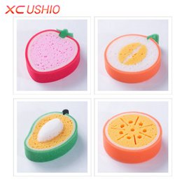 Wholesale Microfiber Sponge Wholesale - Cute Sponge Scouring Fruit Shape Microfiber Pad Cleaning Cloth Strong Remove Stains Thickened Sponge Kitchen Tools
