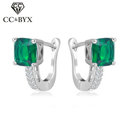 Wholesale Cubic Zirconia Clip Earrings - Wholesale Jewelry 925 Sterling Silver Vintage Clip Earrings For Women Green Cubic Zircon Diamant Fashion Wedding Party Gift CCE129