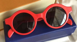 Wholesale Hip Sunglasses - Fashion Designer Round Red Downtown Sunglasses with logo Steet Style cool Hip hop men Brand Sunglasses New with Box