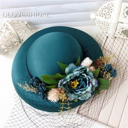 Wholesale Satin Church Hats - New Style Green Satin Floral Bridal Hat with Black Face Veil Garden Wedding Hair Accessory Bride Mother Special Occasion Party Holiday Hat