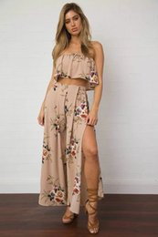 Wholesale Wide Pants Dress - 2017 Hot Style Fashion Printed Strapless Fission Wide-legged Split Suits Female Dress One Color Brand New Women's Long Sleeve Dress