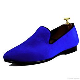 Pantalones de cuero hechos a mano hombres online-Harpelunde Handmade Blue Loafer Shoes Clásico Hombres Velvet Slippers Forro de cuero Round Toe Envío gratis Tamaño EE. UU. 7-13