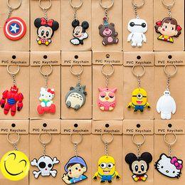 Wholesale Soft Pvc Key Ring - Cartoon Soft Keychain Key Ring Pendant Kawaii Cartoon Animal Silicone Key Caps Covers Keys Keychain