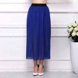 Wholesale Wholesale Long Straight Skirts - Fashion Women Long Skirt High Waist Pleated Maxi Skirts Womens Slim Vintage Chiffon Maxi Skirt Autumn Summer
