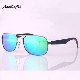 Wholesale Trendy Black Sunglasses - AOOKONI AK3524 Summer Style Trendy Men's Polarized Sunglasses Square Black Frame Sunglasses 6 Colors Drop Shipping UV Protection lens Uv400