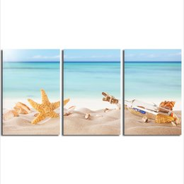Wholesale giclee wall art - Seashell 3 panels Seascape Giclee Canvas Prints Landscape Pictures Paintings on Modern Canvas Wall Art Sea Beach Picture for Wall Decor