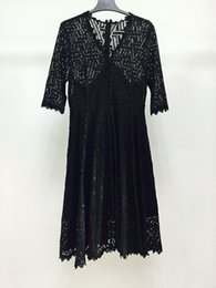 Wholesale Floral Dress Material - Fashion 2017 Plus size dresses material of Lace All Black elegant Two-piece Jumper skirt Inside comfortable maxi dress