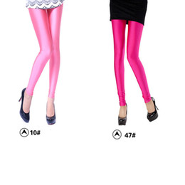 Wholesale Shiny Pants Free - 2017 Women's Leggings Women's Pants casual pant Tights Pants Candy-colored Ice-silk Fabric Fluorescent Leggings Shiny Pants