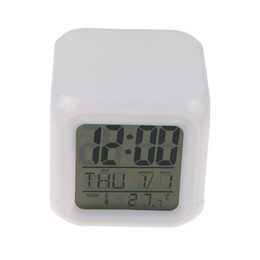 Wholesale Wholesale Thermometer Europe - Wholesale-LED 7 Color Glowing Change Digital Glowing Alarm Thermometer Clock Cube