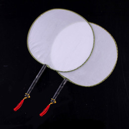 Wholesale Blank Fans - (100 pieces lot) New blank round fans Chinese imitation silk fans Fancy event and party supplies