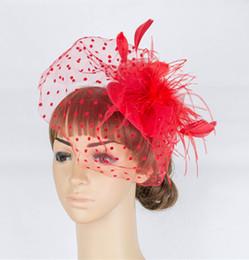 Wholesale Crinoline Hair - Free shipping multiple colorS crinoline fascinator party bridal veils hats occasion headpiece Black Feather hair accessories 6Pcs lot MYQ050