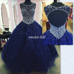 Wholesale Ruffled Debutante Gowns - Real Images Dark Blue Long Quinceanera Dress 2017 Plus Size Backless Crysatl Beaded Ball Gown Tulle Debutante Party Gowns vestido 15 anos