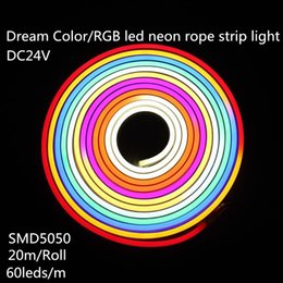 Wholesale 24v Neon - Dream Color DC24V Neon Rope Light Led Neon Flex Rope Light RGB SMD5050 Flexible LED Strip Lights 60leds m 20m roll IP65 Waterproof
