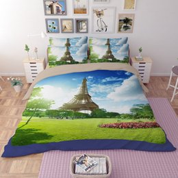 Wholesale Comforter Sets Queen Eiffel Tower - hot sale 3D Tour Eiffel tower design twin queen king bed sheet set bedclothes duvet cover set bedding set