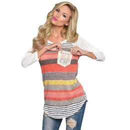 Wholesale Ladies Bell Bottoms - Wholesale- 2016 Fashion Autumn Winter Stripe Casual Irregular Pocket Long Sleeve T Shirt Ladies Loose Bottom T-shirt Tops