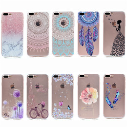 Wholesale Bike Design - Transparent TPU Cover For iPhone 7 Plus Case Fashion Tower bike Butterfly Girl Feather Design Mobile Phone Cases