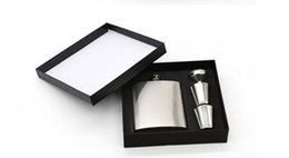 Wholesale Cups Whisky - 7 oz Stainless Steel Hip Flask Sets jack Flagon With Funnel Cups wine Whisky Hip Flask Portable Flagon bottle Gift Box Packing