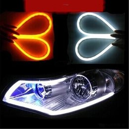 Wholesale drl signal - Daytime Running Lights Flexible Headlight Daytime Lamp Switchback Strip Angel Eye DRL Decorative Light With Turn Signal car styling