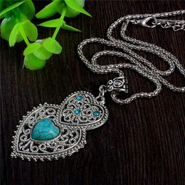 Wholesale Double Heart Crystal Necklace - Wholesale-Double Heart Green Turquoise Stone Pendant Necklace Tibetan Silver Women's Crystal Fashion Necklace Jewelry Free Shipping
