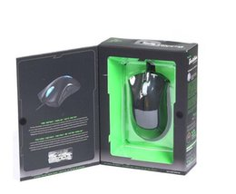 Wholesale New Version Packing - Razer DeathAdder OEM Version Upgraded Gaming mouse 3500dpi Brand New laptop Game mouse Blue Green light wired usb mouse with retail Pack DHL