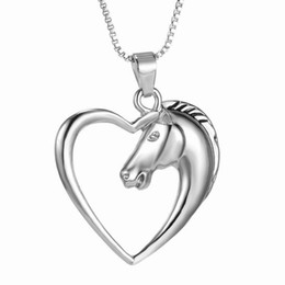 Wholesale Heart Shaped Necklaces For Girls - Wholesale-Shape shining Silver heart horse Pendant jewelry plated Silver Horse in Heart Necklace for women girl mom friends best gifts