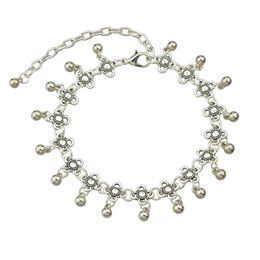 Wholesale Trendy Anklets For Girls - Fashion Vintage Ancient Silver Plated Bead Anklets Beach Barefoot Sandals Foot Jewelry Anklets For Women
