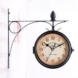 Wholesale double wall clock - Retro decoration double-sided metal wall clock antique style wall clock metal frame + glass clock