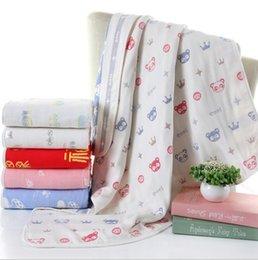 Wholesale Shower Robes - Baby Swaddle Blankets INS Soft Bathing Towels Toddler animal Wrap Kids Swaddling Children Bedding Sheet Shower Towel Six Layers KKA1946