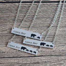 Wholesale Halloween Bears - Silver Gold Plated Bar Necklace Polar Mama Bear Necklace Gifts for Mom Wife Mother's Day Gift Birthday Remembrance free shipping