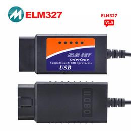 Wholesale Elm 327 Obd2 Eobd Can - Wholesale- ELM 327 V1.5 OBDII EOBD CAN Bus Scanner Software V2.1 ELM327 USB Diagnostic Tool Scanner Automotive OBD2