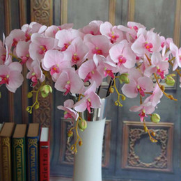 Wholesale Decoration Butterfly Hot Pink - 2017 new Best Simulation Butterfly Orchid Phalaenopsis Flower Home Decorative Flowers Party Wedding Event Decoration Hot Sale