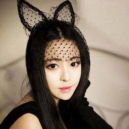 Wholesale Lace Cat Mask Ears - Sexy Black Dot Cat Ears Lace Gauze Veil Hair Mask Headband Headdress Night Club Hair Band Accessories HJIA1109