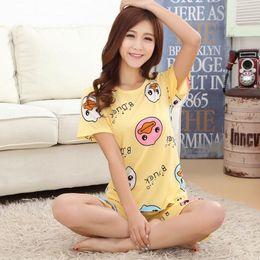 Wholesale Low Priced Suits Women - Wholesale- Low Price 2017pajamas for women short-sleeved summer pajama sets Cartoon lovely pijamas mujer Casual Cute girl sleepwear suit
