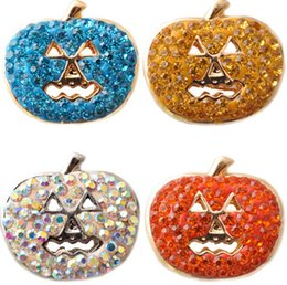 Wholesale Wholesale Antique Bells - Halloween Pumpkin Snap Noosa Buttons Jewelry Fit Bracelet Bangles Antique Fashion DIY Charms Crystal Christmas Bell Design Noosa Chunk-J1135