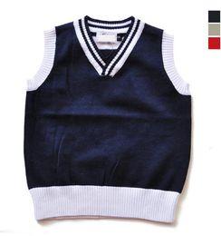 Wholesale Boys Sweaters Wool - kids sweaters cotton autumn winter knitted waistcoat trendy solid baby boys girls sweater vest V-neck children waistcoats