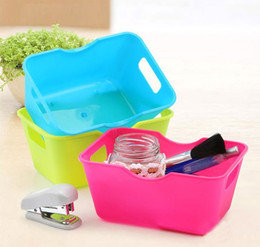 Wholesale Rectangular Plastic Box - 1PC Mini Desktop Storage Box Plastic Organizer Case Rectangular Stationery Cosmetic Trinkets Tools High Quality O 0322