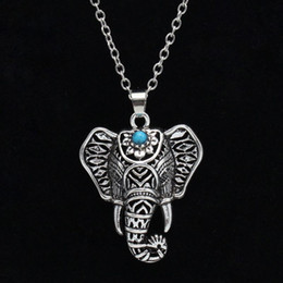 Wholesale Necklace Elephant - Bohemian Ethnic Turquoise Elephant Pendant Necklace Vintage women statement jewelry Necklace for Women Free shipping