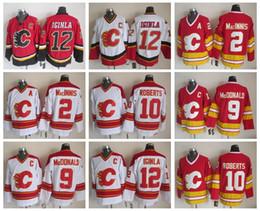 al macinnis Promotion Hommes 12 Jarome Iginla Jersey Flames de Calgary 2 Al Macinnis 9 Lanny McDonald 10 Gary Roberts chandails de hockey cousus vintage