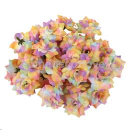 Wholesale Rainbow Wedding Decor - Wholesale-50x Artificial Silk Rose Flowers Heads Wedding Craft Handband Decor Rainbow