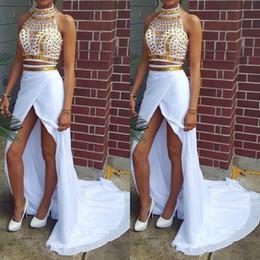 Wholesale Evening Dresses Spilt - New Arrival Summer Hot Prom Dresses 2017 Halter Neck Sleeveless Gold Crystal High Spilt Evening Dressvestido de festa