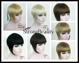 Wholesale Extension Clips Pcs - Wholesale-1 PC Synthetic Women Short Blonde Brown Black Gold Front Neat Hair Bangs Extension Clip in Hair Piece Fringe Extensions