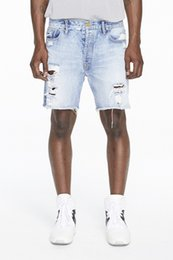 Wholesale Raw Hand - New Fashion Raw Hems Ripped Jeans Summer 2017 Hand Denim Shorts Free Shipping style 4 30-36